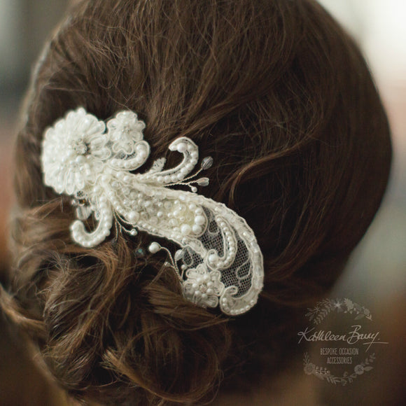 Lillie Lace hairpiece Bridal wedding hair accessory - off white Chantilly lace - crystal and pearl detailing