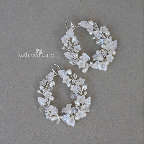 Lisa floral hoop earrings - color & metallic options available - gold, rose gold or silver