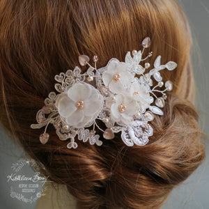 Marilyn Ivory / Off-white Lace Hairpiece Hints of Blush Pink with Rose Gold Accents