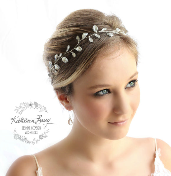 Jaune Silver metallic leaf hair vine, wreath - Custom colors to order are Rose gold, gold, Silver
