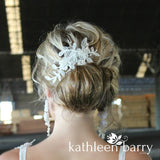Meredith lace hairpiece - pearl crystal detail - rose gold, gold or silver