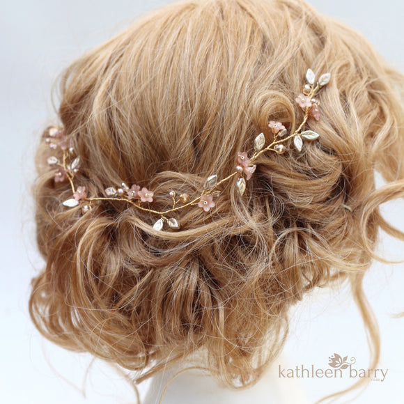 Layla dainty flower leaf hair vine - Assorted colors - Rose gold, gold or silver (two sizes) FROM: