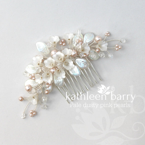 Nadine - Delicate Silver Pink Pearl floral leaf hairpiece - Colors to order
