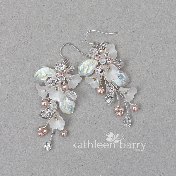 Nadine Earrings - Delicate floral and leaf earrings - Colors to order