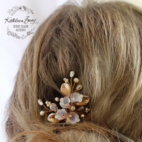 Nadine Rose gold crystal pearl hair pin - Floral leaf hair pin - sold individually