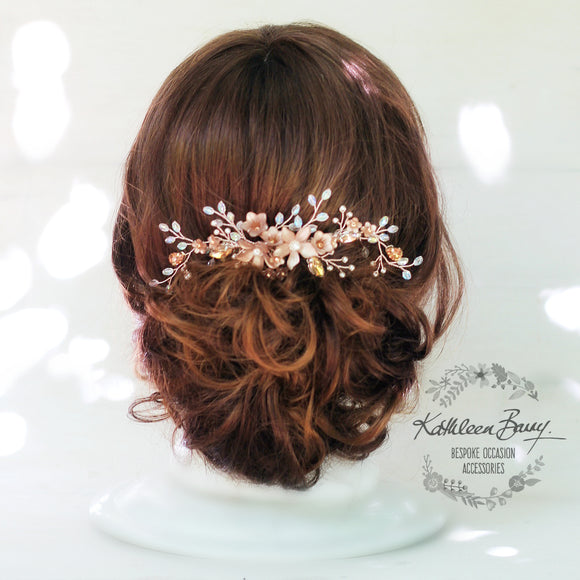 Rose gold Natalia Floral Spray Crystal, Pearl & Rhinestone Comb - Color options available
