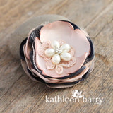 Blush + Navy blue hair flower or brooch - Bride, flower girl, bridesmaid, mother of the bride or groom gifts