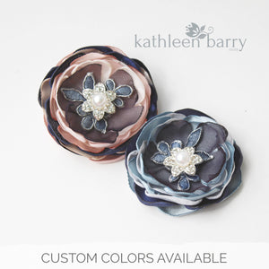 Navy blue hair flower or brooch - Bride, flower girl, bridesmaid, mother of the bride or groom gifts