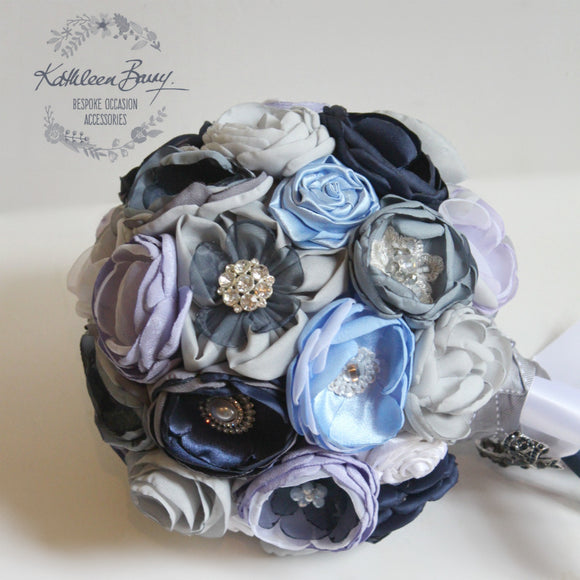 Heirloom Bridal Bouquet - everlasting bouquet - handcrafted fabric flowers with crystal, pearl and rhinestone brooch detailing - Navy, dusty blue, sky blue, grey and off white