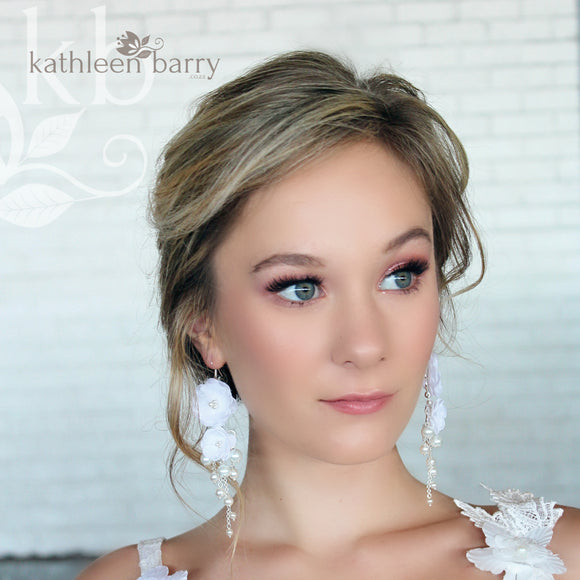 Odette flower and pearl chandelier earrings -  Color options available