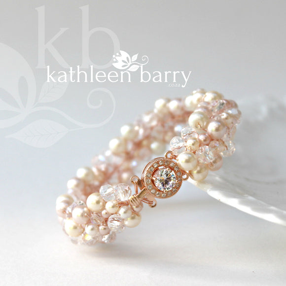 Tana Bracelet Rose gold- pearls and crystals - colors to order