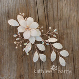 Meryl hairpiece, sculpted fabric flowers - Assorted colors - Rose gold, pale gold or silver