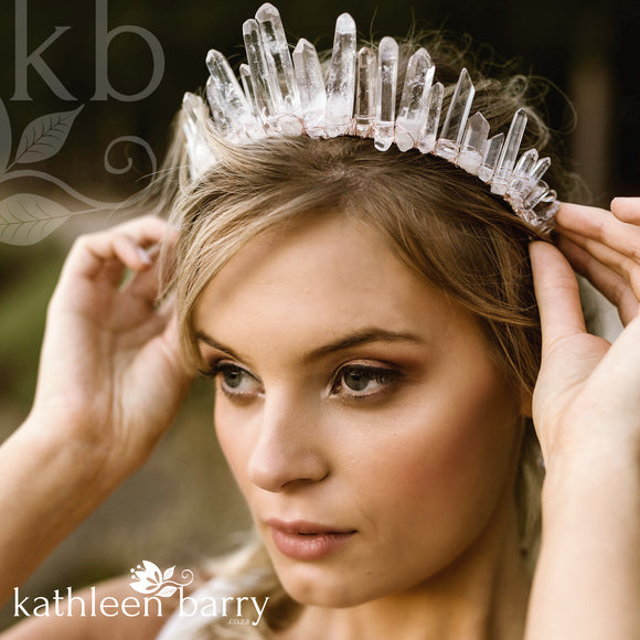 Crystal quartz bridal crown with rose gold, gold or silver wirework (more even grading)
