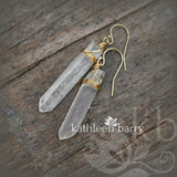 Quartz crystal point earrings - Gold silver or rose gold options.