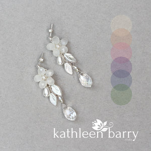 Quinn floral drop earrings - color & metallic options available