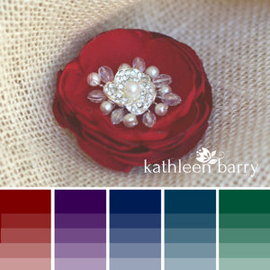 Hair flower - jewel tones, dual purpose, hair clip & brooch - various color options & sizes