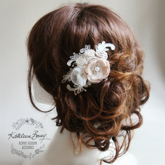 Rose bridal hairpiece floral - veil comb wedding hair accessory - ivory oyster pebble taupe