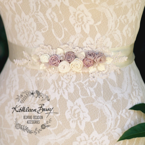 Laurie Dusty Rose Soft Mauve Wedding Dress Sash Bridal Belt, Floral with lace detail