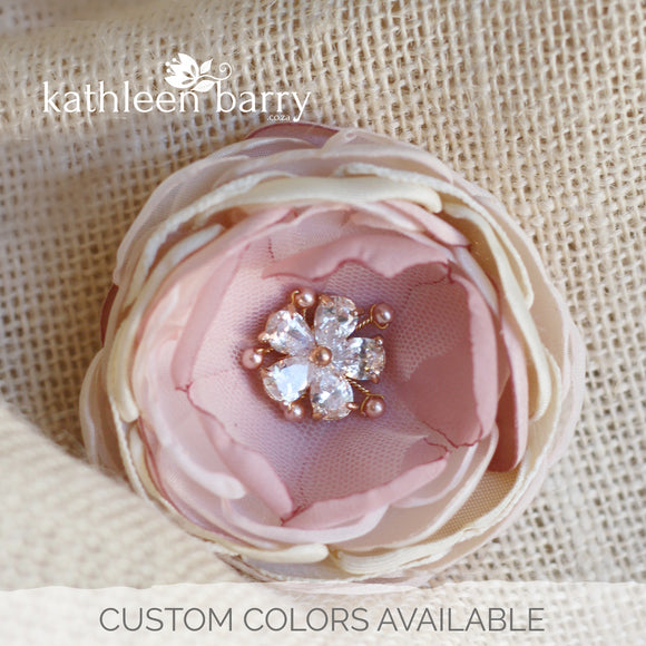 Rose gold dusty pink champagne blush pink - dual purpose hair clip & brooch pin