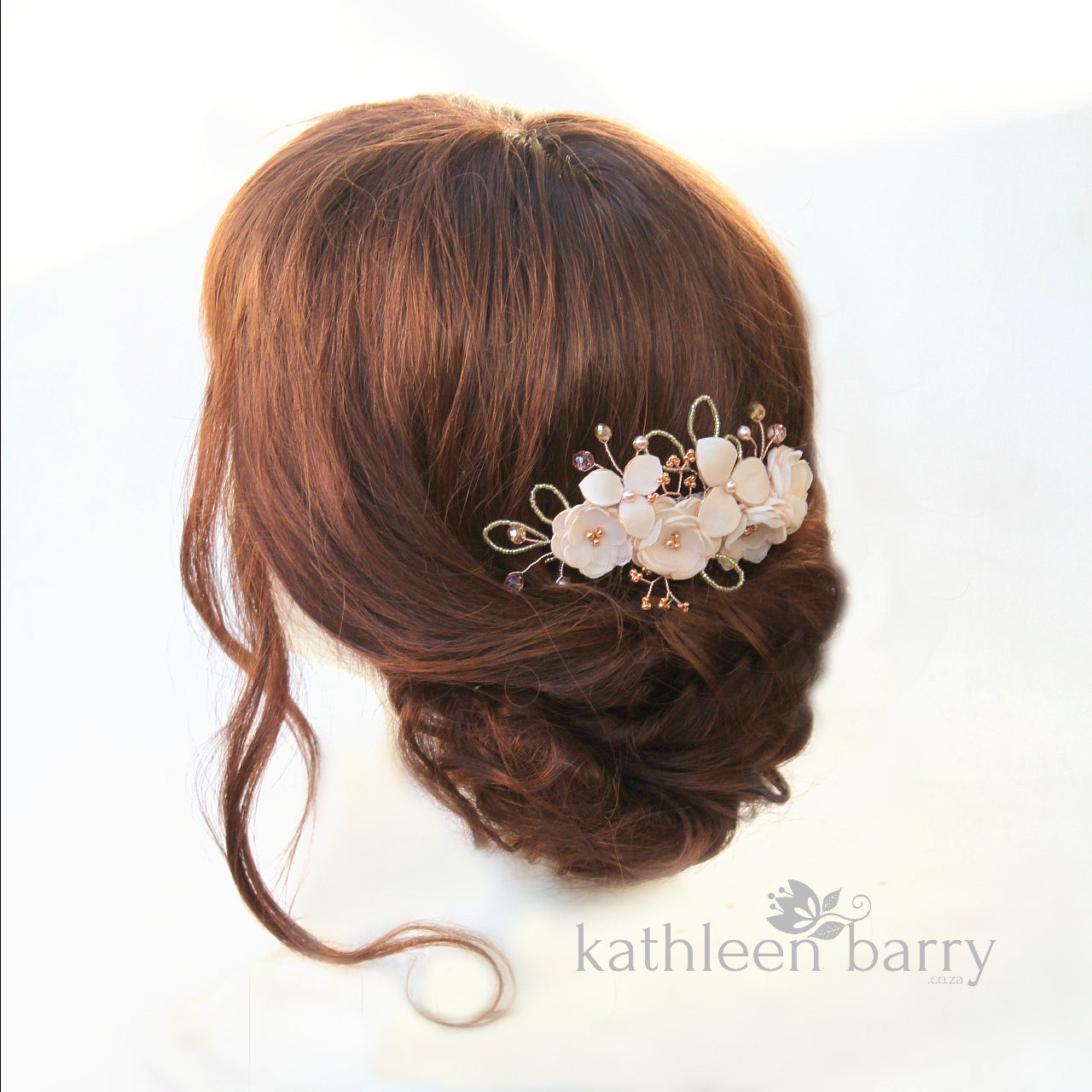 39847425 ... Rose gold Hair Comb hairpiece ivory white - wedding bridal hair  accessories - veil comb ...