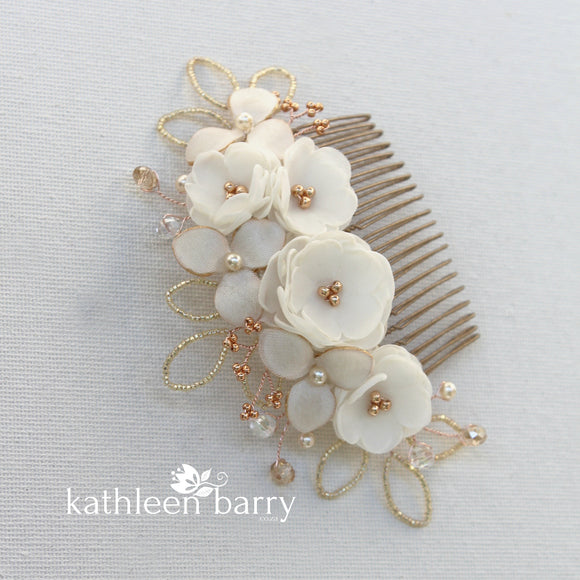Rose gold Hair Comb hairpiece ivory white - wedding bridal hair accessories - veil comb - gold - silver option