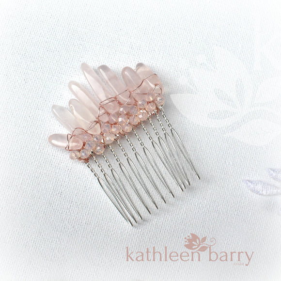 Anerike rose quartz hair combs in gold, silver or rose gold - sold individually