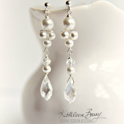 Lauren drop earrings Silver Crystal & Pearl - Rose Gold or Options Available