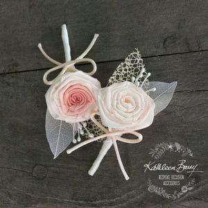 Boutonniere or corsage - lapel pin groom  color options available - everlasting