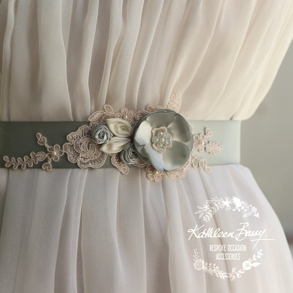 Tiffany dress sash belt wedding - floral with lace - bridal belt ivory sage green sea foam shades - sea glass - colors to order