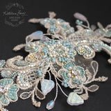 Lace hairpiece seafoam green  veil comb - white gold, sea foam green, turquoise