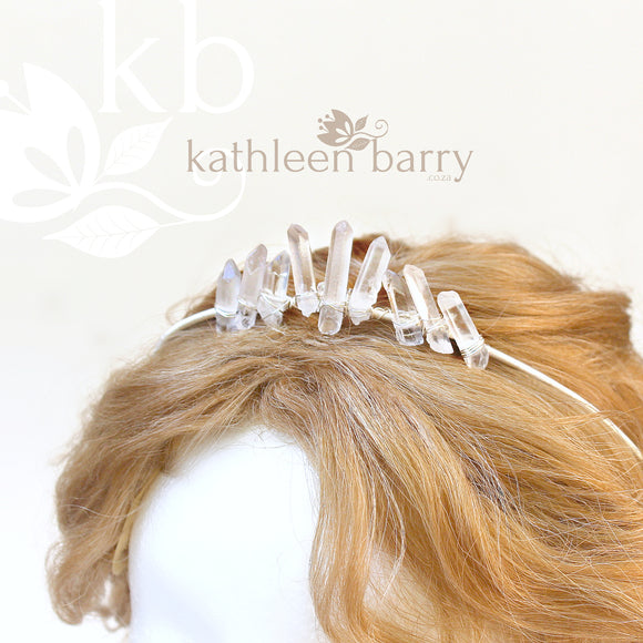 Simple Crystal quartz bridal crown with rose gold, gold or silver wirework