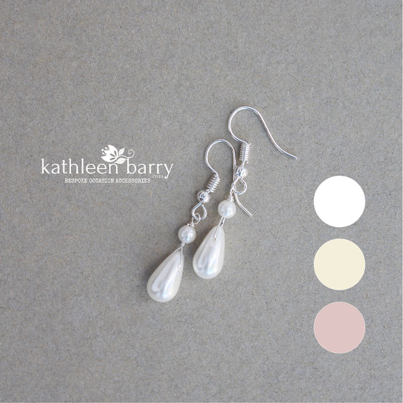 Jaclyn dainty pearl drop earrings - available in 3 pearl colors, rose gold, gold or silver finish