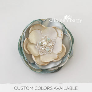 Sage green hair flower or brooch - Bride, flower girl, bridesmaid, mother of the bride or groom gifts