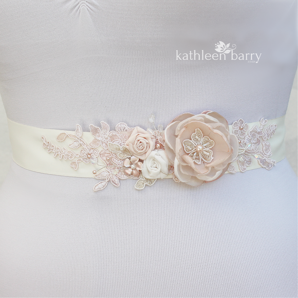 Wedding dress sash belt floral with lace - Blush pink - soft pink colors to order online