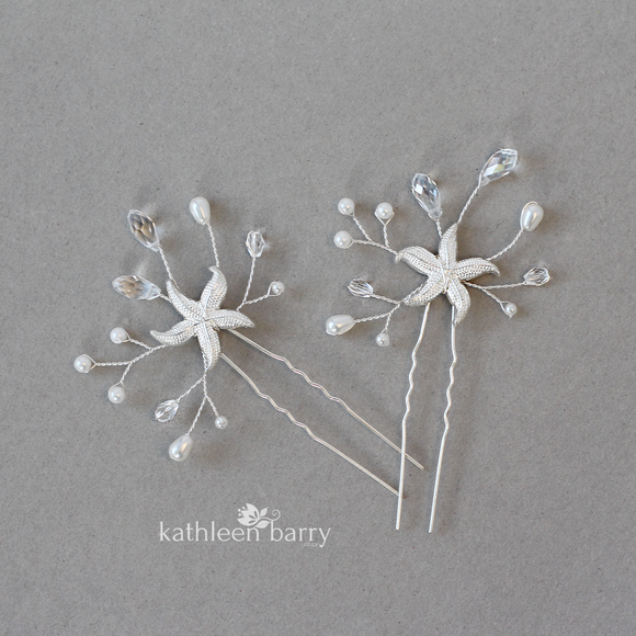 Starfish hair pin rhinestone, crystal and pearl - sea star beach wedding - Sold Individually