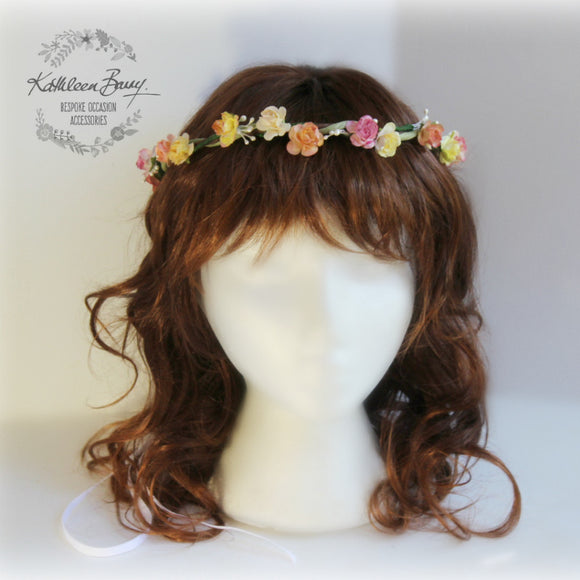 Flower crown ombre hand painted multi colors to order - Flower Girls Bridesmaids