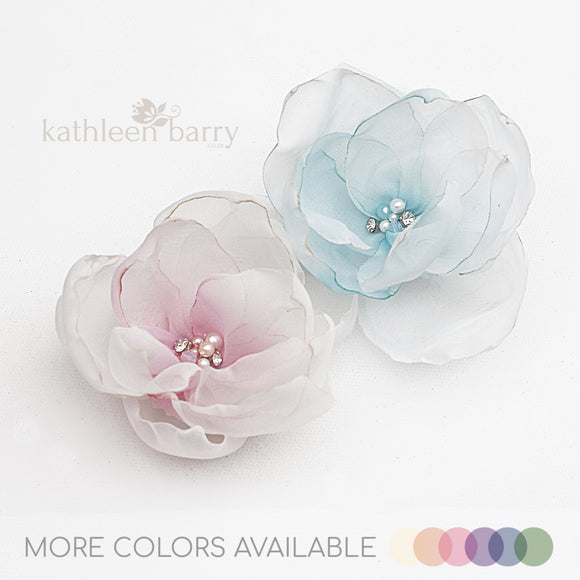 Flower clip - Hand painted Ombré fabric flower with pearl & rhinestone detail - colors to order