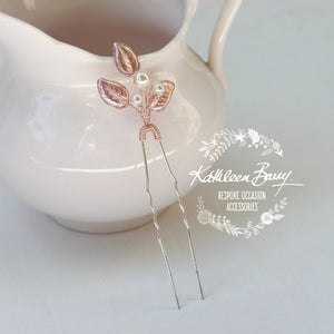 Emily leaf hair pin rose gold - also available in gold and silver