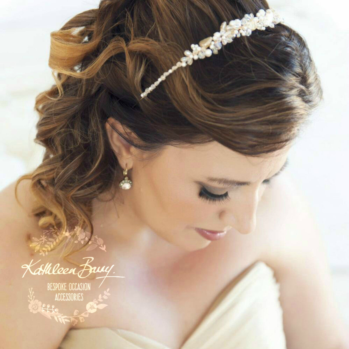 Veronique Golden Leaf Bridal Crown - Headband - Crystal   Pearl ... 4098dfd2c65