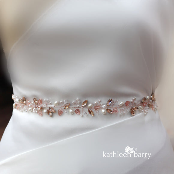 Judith rose gold wedding dress belt - Assorted colors available silver, gold or rose gold finish