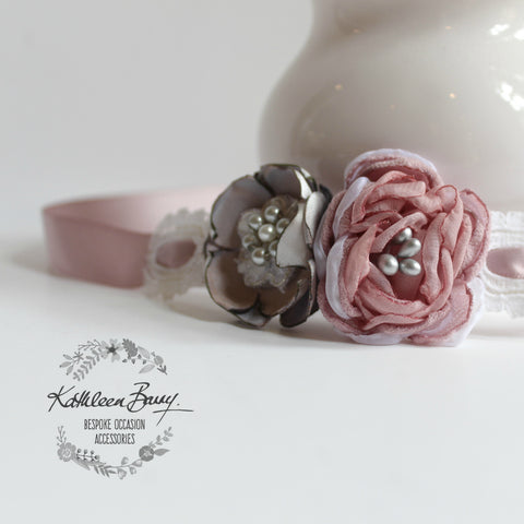 Wrist Corsage dusty pink, blush, grey - bridal cuff bracelet - wedding accessories - Mother of the Bride - Bridesmaid - Prom - Matric dance