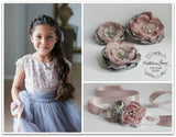 Hair flower, brooch, corsage, belt accessory - Pink and grey- crystal & pearl detailing