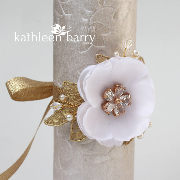 Grace wrist corsage, gold, silver or rose gold - multiple flower, lace & ribbon options available