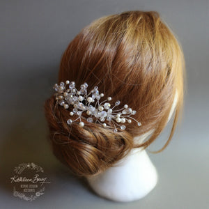 Willow crystal & pearl hairpiece comb - veil comb - silver or gold option