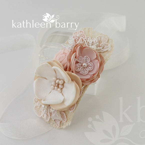 Wrist Corsage Lace fabric flowers - Bridal or Prom - color options available