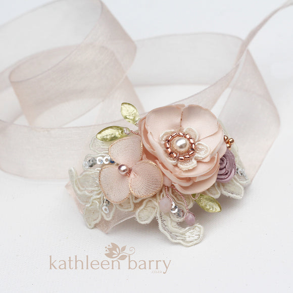 Blush pink wrist corsage wedding prom custom colors