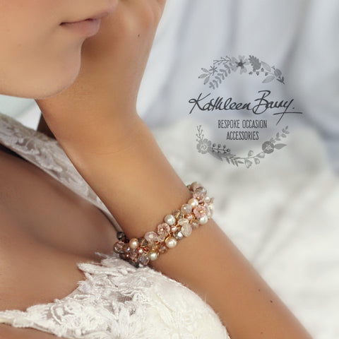 Ginny Rose Gold bracelet - Crystal pearl - wedding accessories jewelry - taupe, smokey silver, champagne crystal dusty pink