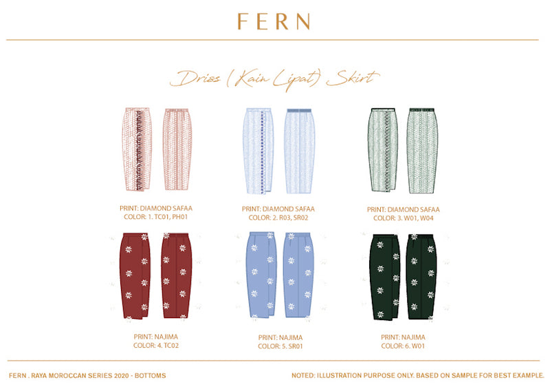 Driss Kain Lipat Skirt - FERN