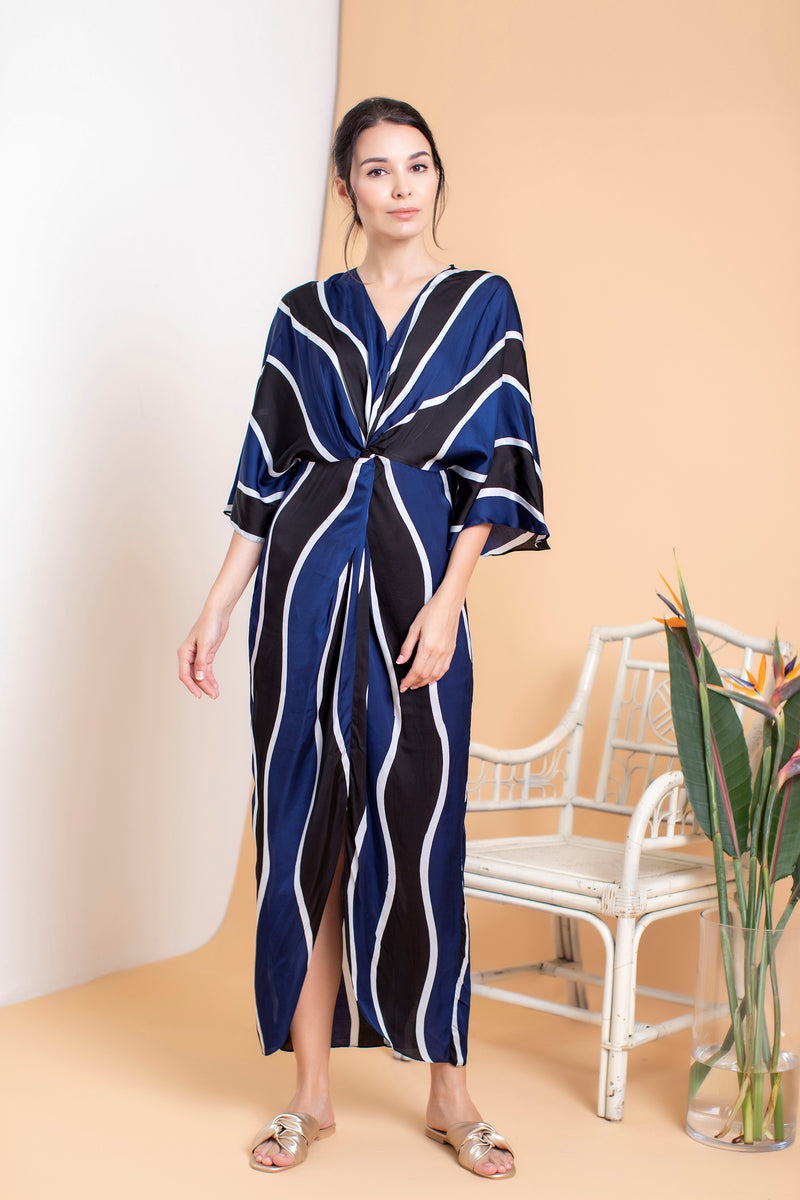 Waves Long Front Twisted Kaftan - FERN