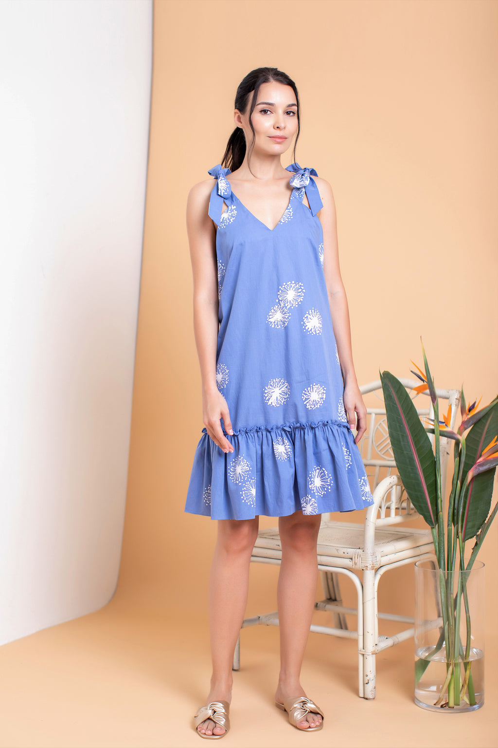 Leontine Bow Ruffle Shift Dress